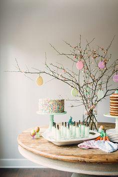 Easter dessert table and Easter Egg Cookie Tree idea, via Waiting on Martha