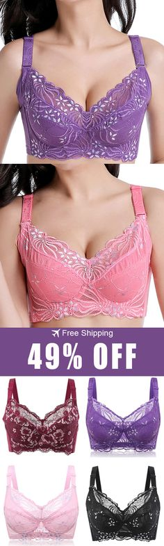 970eacacd0 Plus Size Underwire Full Cup Busty Sexy Lace Breathable Thin Bra