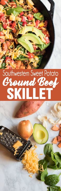 Hypoallergenic Pet Dog Food Items Diet Program Southwestern Sweet Potato Ground Beef Skillet Is The Best Weeknight Dinner Mexican Food Recipes, New Recipes, Dinner Recipes, Cooking Recipes, Healthy Recipes, Healthy Menu, Favorite Recipes, Delicious Recipes, Easy Recipes