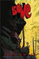 Bone by Jeff Smith. A blend of humour, dark fantasy in an epic hero's journey. (The library has all individual volumes and the  consolidated volume)