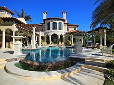 This grand estate, dubbed Villa Florentine, is located in the prestigious gated community of Ocean Club Estates on Paradise Island in the Bahamas. Bahamas Villas, Nassau Bahamas, Luxury Home Decor, Luxury Homes, Caribbean Real Estate, Pinterest Instagram, Paradise Island, Gated Community, Luxury Real Estate