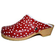 Polka dot clogs in red and white from Tessa Clogs.