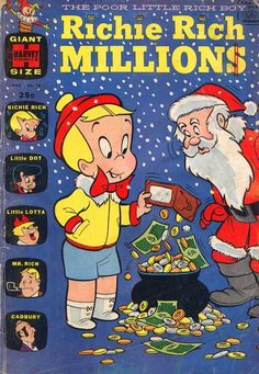 A cover gallery for the comic book Richie Rich Millions Old Comic Books, Vintage Comic Books, Vintage Comics, Comic Book Covers, Classic Comics, Classic Cartoons, Richie Rich Comics, Christmas Comics, Childrens Christmas Books