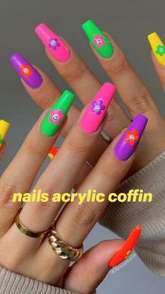 Edgy Nails, Chic Nails, Funky Nails, Neon Nails, Yellow Nails, Swag Nails, Neon Nail Art, Stylish Nails, Bright Summer Acrylic Nails