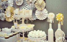 baby-shower-idea-vintage-gray-yellow-dessert-table