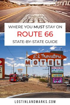 Historic hotels and motels that you should consider staying at when driving Route 66. The Mother Road has loads of Mom & Pop motels that have so much history and character and this post details some all along the road from Chicago to Los Angeles. Driving Route 66, Route 66 Road Trip, Road Trip Usa, North America Destinations, Travel Destinations, Hiking Usa, Historic Route 66, Old Gas Stations, Cool Places To Visit