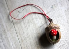 Hand made felted mushroom in an acorn Christmas tree ornament lilfishstudios.com $15