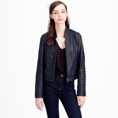 j crew standing collar leather jacket - Google Search
