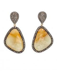 Image of Jayshree Dalal Diamond and Slice Sapphire Earrings