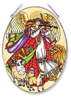 Amia 5634 Oval Suncatcher with Angel Design, Hand Painted Glass, 6-1/2-Inch by 9-Inch by Amia. $24.00. Includes chain. Handpainted glass. Comes boxed, makes for a great gift. Amia glass is a top selling line of handpainted glass decor. Known for tying in rich colors and excellent designs, Amia has a full line of handpainted glass pieces to satisfy your decor needs. Items in the line range from suncatchers, window decor panels, vases, votives and much more.