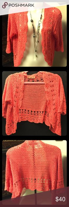 BANDOLINO CROCHET CROP CARDI CORAL COLOR BIG LOOP EUC SO FLIRTY THIS COLOR WILL MAKE ANY OUTFIT POP PERFECT TO WEAR OVER SUNDRESSES OR WHITE TEES ADD TURQUOISE TO ACCENT THIS FABULOUS COLOR FOR BEACH WEAR OR DRESS-UP CHIC STYLE Bandolino Tops Crop Tops