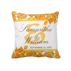 Golden Autumn Custom Wedding Pillow