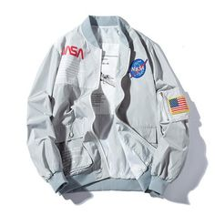 "pleasingly-aesthetics: "" This is the NASA/DESIGNER INSPIRED BOMBER JACKET! Limited Edition, custom design made with light comfortable fabric. A premium piece of clothing with the softest interior ever. Nasa Bomber Jacket, Black Bomber Jacket, Gray Jacket, Bomber Coat, Jacket Men, Orange Jacket, Moda Geek, Nasa Clothes, Mode Streetwear"