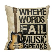 Music Speaks Throw Pillows