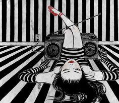 música en blanco y negro, ilustración de Yuko Shimizu
