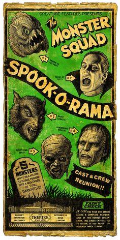 Retro-poster for cast reunion. Classic Monster Movies, Classic Horror Movies, Classic Monsters, Old Movie Posters, Horror Movie Posters, Movie Poster Art, Comics Vintage, Vintage Movies, Retro Vintage