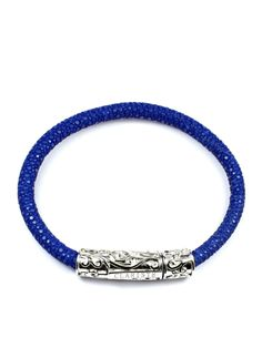 Blue Stingray Leather Lock made of Solid 925 Sterling Silver Product Code: This bracelet is handcrafted from compelling high quality blue sti Sterling Silver, Bracelets, Leather, Blue, Jewelry, Bangles, Jewlery, Jewels, Bracelet