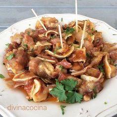Oreja de cerdo al ajillo Tapas Recipes, Pork Recipes, Italian Recipes, Mexican Food Recipes, Spanish Cuisine, Spanish Dishes, Slow Cooker Beef, International Recipes, Original Recipe