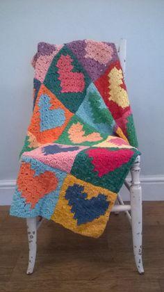 Crochet Blankets Design crochet blanket, afghan, corner to corner technique,crochet love heart squares, totally smitten Crochet Quilt, Crochet Home, Diy Crochet, Afghan Crochet Patterns, Crochet Afghans, Crochet Blankets, Crochet Heart Blanket, Crochet For Beginners Blanket, Beginner Crochet