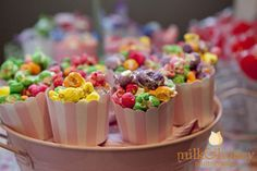 Add Pink or Blue stripes with pink or blue popped corn.  Cute Idea.