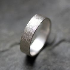 Textured wedding band ring - recycled sterling silver - mens wedding ring - artisan metalsmith - scratch texture