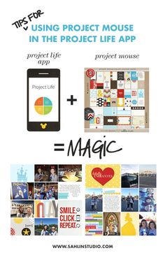 Tips for Using Project Mouse (or Digital Journal Cards) in the Project Life app - If you have years of photos, and WANT to scrapbook them! Well, you can do it... on your phone!!!! That means in the car pool line, at the doctor's office, even while you're making dinner. You can even scrapbook your whole life ON YOUR PHONE. Here's how.