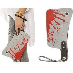 Accessories Boutique Women The Bloody Cleaver Clutch Purse. The Kreepsville 666 Cleaver Clutch Yikes! Rule the world with this Cleaver Clutch with blood splattered allover. This coupling can still keep your beloved ward off all your unwanted stuff creeps. Dexter, Knife Shapes, Clutch Purse, Gifts For Women, Ladies Gifts, Cool Stuff, Stuff To Buy, Scary Stuff, Purses And Bags