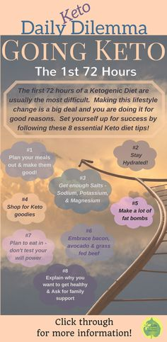 The first 72 hours of a Ketogenic Diet are usually the most difficult.  Making this lifestyle change is a big deal and you are doing it for good reasons.  Set yourself up for success by following these 8 essential Keto diet tips!
