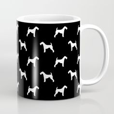 Airedale Terrier black and white minimal dog pattern dog silhouette pattern Mug
