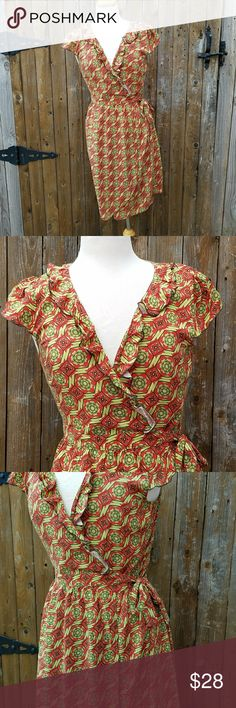 Matilda Jane Serendipity Cheerio Wrap Dress Size Medium Red & Green Floral Wrap Style  Cap Ruffle Sleeves 100% Rayon  Measurements Bust is about 36 inches Length of dress is 37 inches  Dress is in excellent pre-owned condition! Matilda Jane Dresses