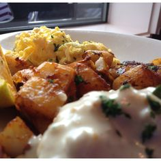 Hazelnut French Toast, rosemary sausage gravy, scramble eggs and pan aware red potatoes. #Grub at Caddillac Cafe, Portland OR
