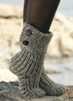 Women Knitting SocksSlippersWinter Trendy. by byrosali on Etsy