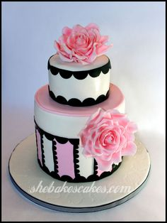 fondant roses cake | 88th Birthday Cake, Barbourvile, Kentucky | She Bakes Cakes LLC