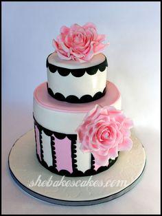 fondant roses cake | 88th Birthday Cake, Barbourvile, Kentucky | She Bakes Cakes LLC