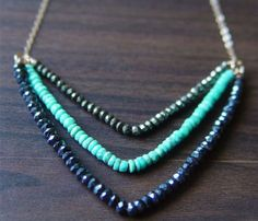 Chevron Pyrite, Turquoise and Lapiz Necklace. Easy DIY.