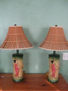 Vintage Pair of Hawaiian Hula Girl Lamps Adorn Your Tiki Bar with Lovely Hula Hands.