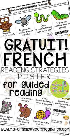 FREE French reading strategies poster - 7 strategies to teach your primary students to help them learn to read, en français! | GRATUIT - affiche pour les stratégies de lecture | lecture guidée | French guided reading