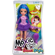 Moxie Girlz Sweet Style Doll - Lexa. Dolls will have 1 of 3 scents: Berry, citrus or vanilla. Comes with 2 'dessert' ring charms for various looks. Bright fashions and colorful hair. Headband and hair brush included.