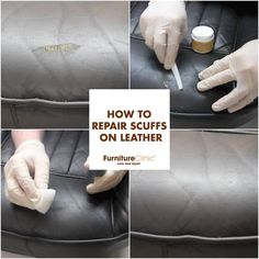 How to repair scuffs on leather. || Scuffs or scratches on your leather car seat or sofa? Make a close to perfect repair with our help! Head over to our website for a step-by-step guide and product list.