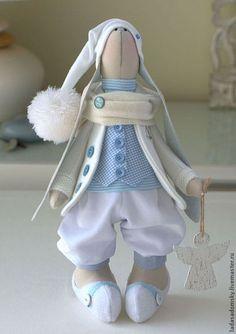 Купить Зайка-ангелочек Маrk 39 см . - белый, бело-голубой, зайка, заяц тильда: