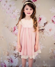 Look at this Kid's Dream Coral & Cream Floral Yoke Dress - Toddler & Girls on #zulily today!