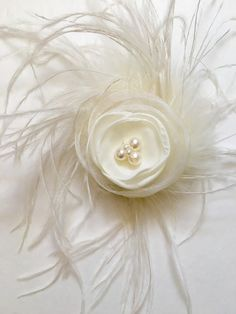 Ivory Organza Feather Mini Fascinator Hair by FancyGirlBoutiqueNYC