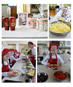 """Pizza Making Station at our Masterchef Party or Cooking Party  Mother Duck Said: """"Lets Party!"""""""
