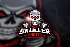 , Skuller Shoter - Mascot & Esport Logo- Suitable for your design needs, All elements on this template are editable with adobe illustrator! Logo Desing, Game Logo Design, Adobe Illustrator, Gaming Logo, Video Game Logos, Vector Game, Skull Logo, Skull Art, Envato Elements