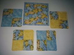 COASTERS(4) MUG MAT, ,Blue and Yellow ,100% COTTON Handmade FREE SHIPPING http://www.etsy.com/shop/QuiltingbyDiamanti Pinterest QuiltingbyDiamantiandmore