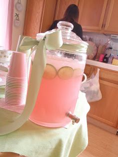 Cuter Idea For Baby Shower, Long Ribbon To The Side To Decorate Drink  Dispenser Reminds Me Of Mommies Belly :)