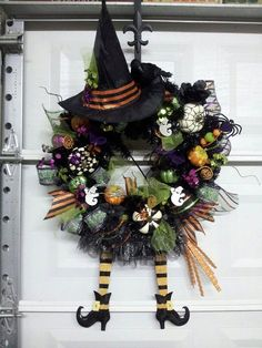 This is an adorable Witch Wreath that will sass up your door for Halloween. Also available for Christmas, Thanksgiving, Easter, St. Patricks Day,