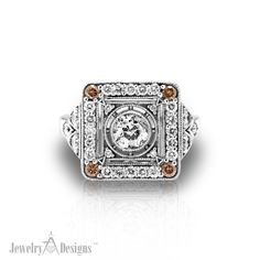 White gold Diamond retro ring by Jewelry Designs