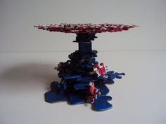 Red White and Blue Patriotic Jigsaw Puzzle Cake Stand by SJPuzzles, $40.00