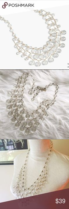 "J. Crew Bauble Cascade Necklace in Clear Crystal This necklace is in terrific shape but it's just too big for me. Brass chain with signature charm and acrylic beads. Guaranteed authentic. Total length 28"". Extender chain for adjustable length. J. Crew Jewelry Necklaces"